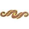 Motif Sequin/beads 29.5x9.5cm Scroll Gold Aurora Borealis with matchingstone